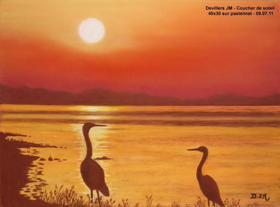 Coucher de soleil coucher de soleil 40x30 sur pastelmat le 09 07 11